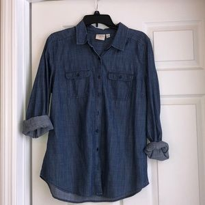 Denim button up long sleeve top